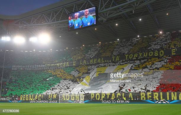 The Juventus FC fans show their support before the UEFA Champions League semi final match between Juventus and Real Madrid CF at Juventus Arena on...
