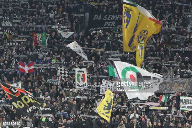 The Juventus FC fans show their support during the UEFA Champions League Round of 16 second leg match between Juventus and FC Porto at Juventus...