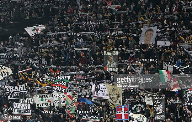 The Juventus FC fans show their support prior to the UEFA Champions League group stage match between Juventus and VfL Borussia Moenchengladbach at...