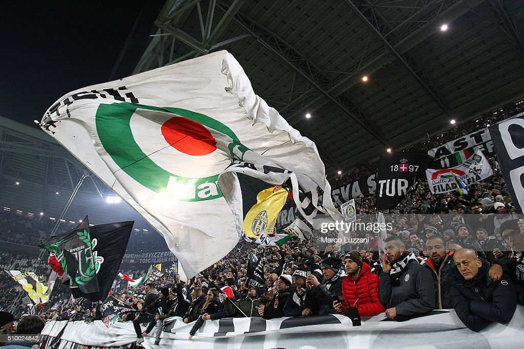 The Juventus FC fans show their support the Serie A match between and Juventus FC and SSC Napoli at Juventus Arena on February 13, 2016 in Turin, Italy.