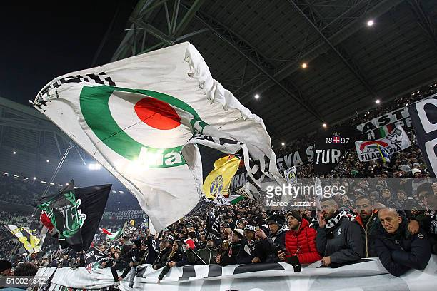 The Juventus FC fans show their support the Serie A match between and Juventus FC and SSC Napoli at Juventus Arena on February 13 2016 in Turin Italy