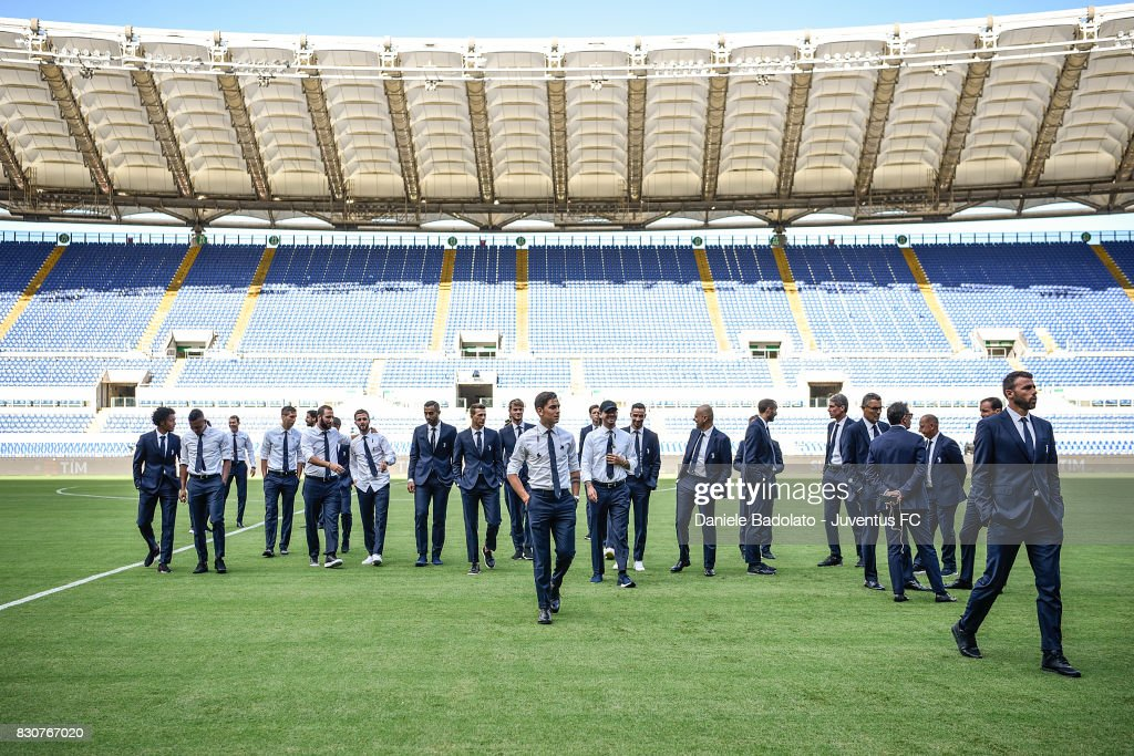 The Juventus squad during the Juventus Walk Around ahead of the Italian Supercup at Olimpico Stadium on August 12, 2017 in Rome, Italy.