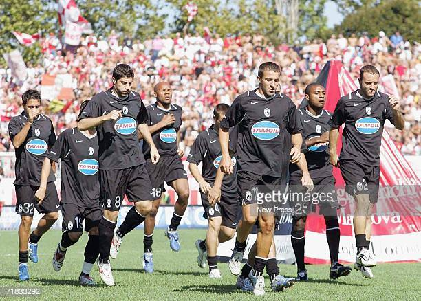 The Juventus squad enters the pitch before the Serie B match between Rimini and Juventus at the Romeo Neri stadium September 9 2006 in Rimini Italy