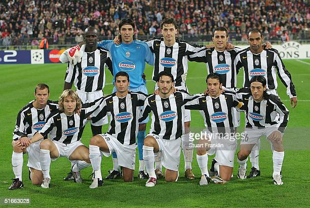 The Juventus squad lineup before The UEFA Champions League group C match between FC Bayern Munich and Juventus at The Olympic Stadium on November 3...