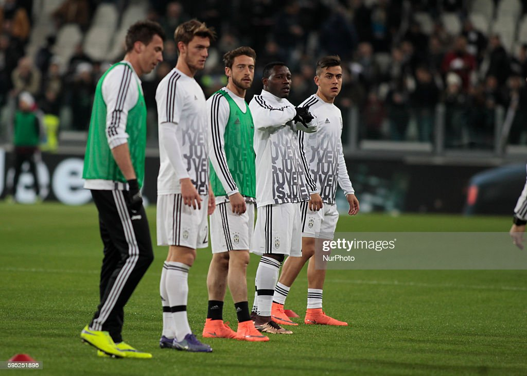 The Juventus team before the serie A match between Juventus FC and US Sassuolo Calcio at the Juventus Stadium of Turin on march 11 2016 in Torino...