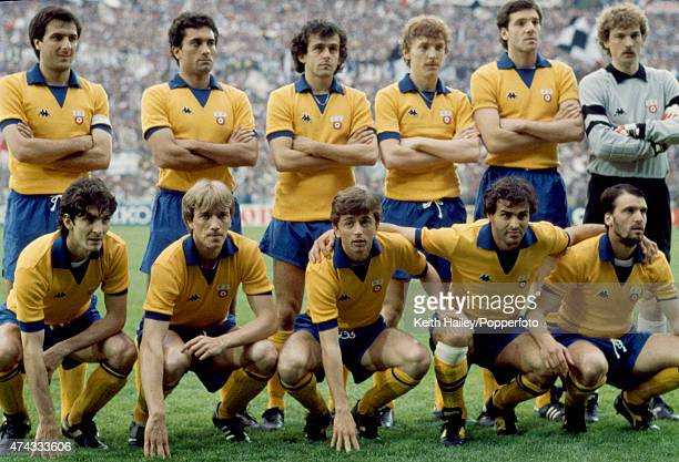 The Juventus team before their European Cup Winners' Cup final match against FC Porto at St Jakob Stadium Basel Switzerland 16th May 1984 Juventus...