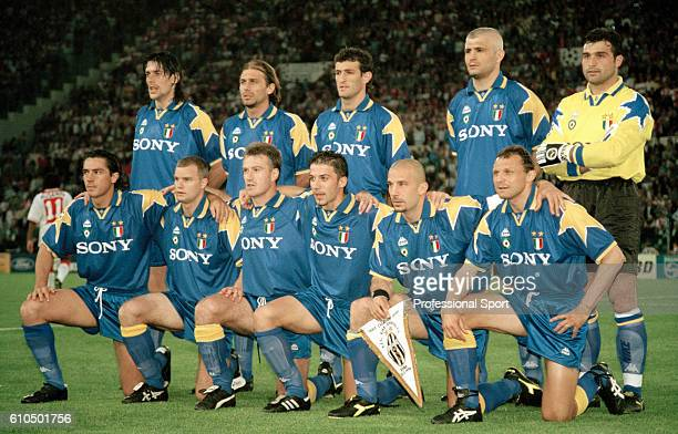 The Juventus team prior to the UEFA Champions League Final between Ajax and Juventus at the Olympic Stadium in Rome 22nd May 1996 The match ended 11...