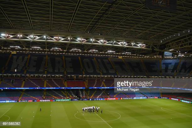 The Juventus team take part in a Juventus training session prior to the UEFA Champions League Final between Juventus and Real Madrid at the National...