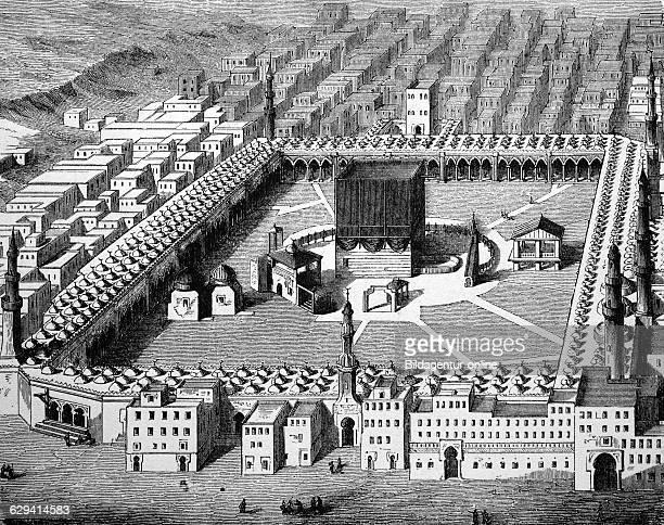 The kaaba in mecca saudi arabia historic woodcut 1870
