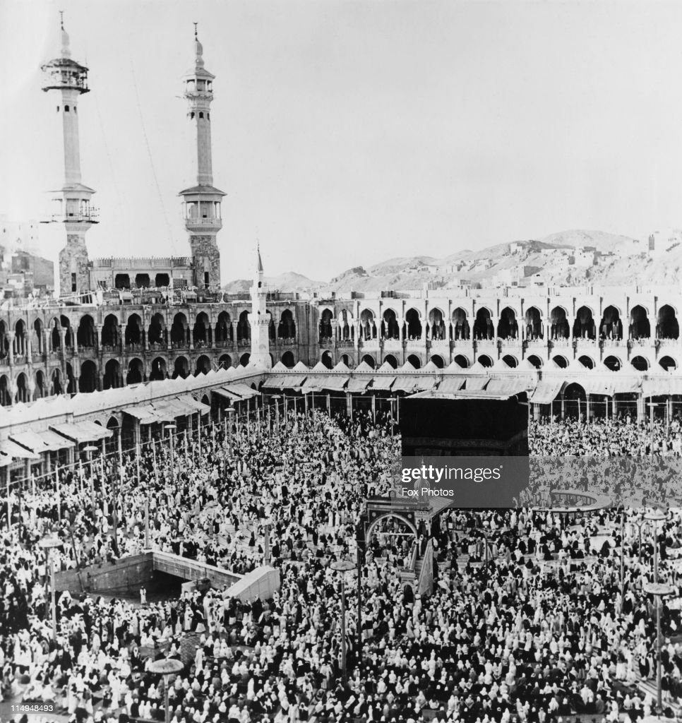 The Kaaba in the centre of the Masjid al-Haram in Mecca, Saudi Arabia, 21st March 1967. On the left is the entrance to the Zamzam Well. Every year, millions of Muslims complete a hajj or pilgrimage to this sacred spot.