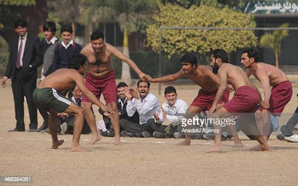The Kabaddi tournament on February 1 in Rawalpindi Pakistan Kabaddai the traditional tagwrestling sport involves players trying to tag an opponent...