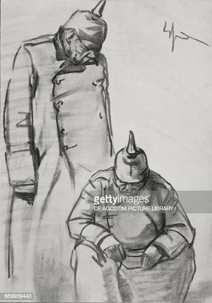 The Kaiser and Hindenburg after the defeat World War I drawing by E Sacchetti from l'Illustrazione Italiana Year XLV No 45 November 10 1918