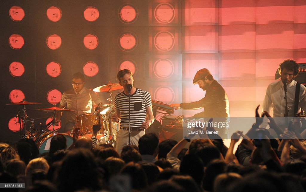 The Kaiser Chiefs perform at Burberry Live at 121 Regent Street at Burberry on April 23, 2013 in London, England.