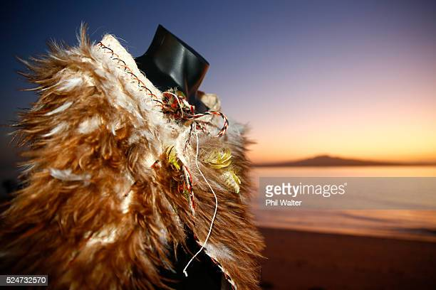 The Kakahu a traditional maori feather cloak during the Olympic Games 100 days countdown ceremony at Cheltenham Beach on April 27 2016 in Auckland...