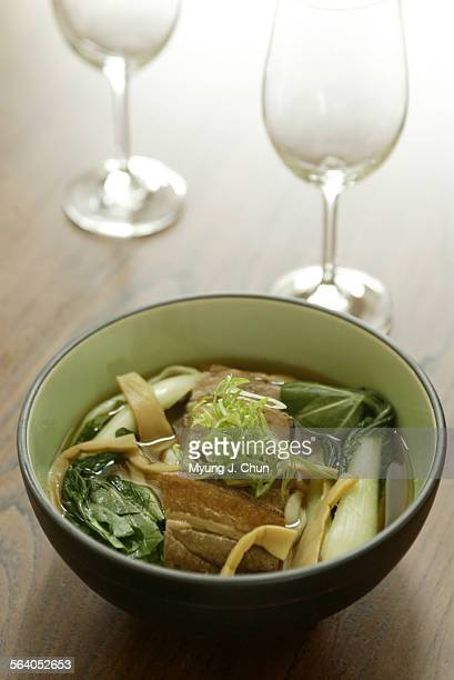 The Kakuni Udon – Japanese noodles with braised pork belly bamboo shoots and choy sum at Beacon an Asian cafe located at 3280 Helms Ave in Los Angeles