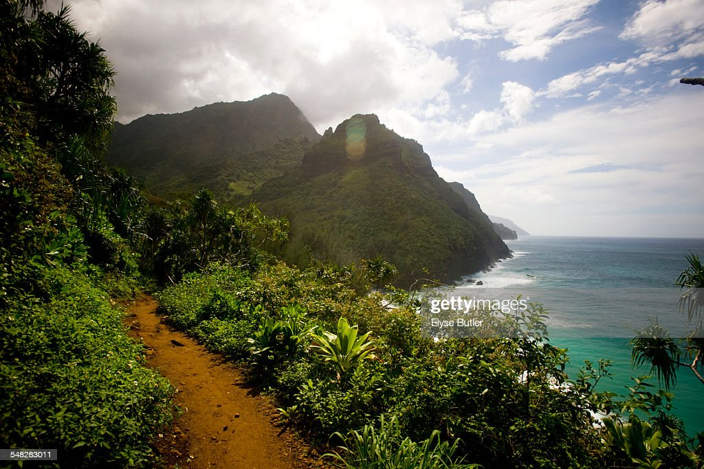 The Kalalau Trail along the Na Pali Coast of Kauai.