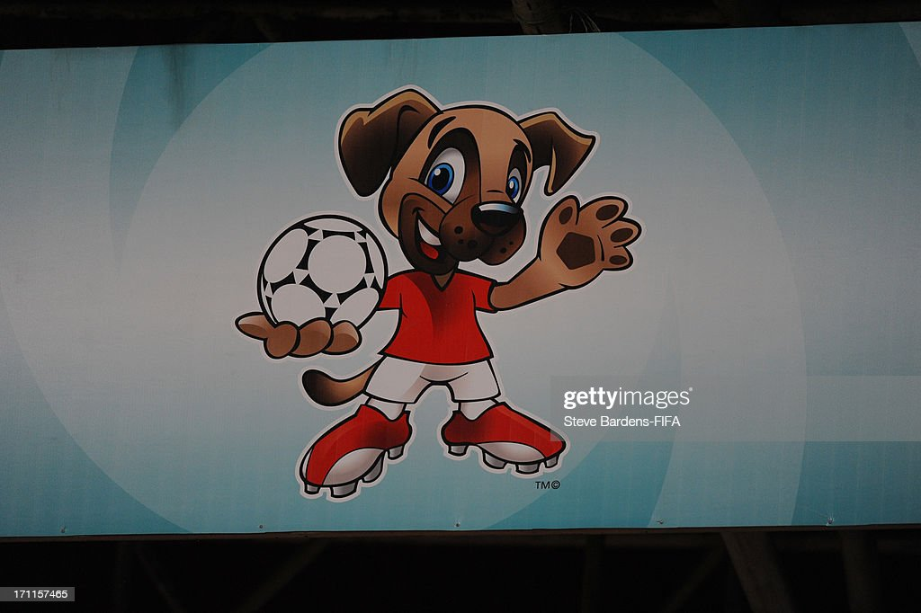 The Kangal Dog mascot on a hoarding during the FIFA U20 World Cup Group D match between Paraguay and Mali at Kamil Ocak Stadium on June 22, 2013 in Gaziantep, Turkey.