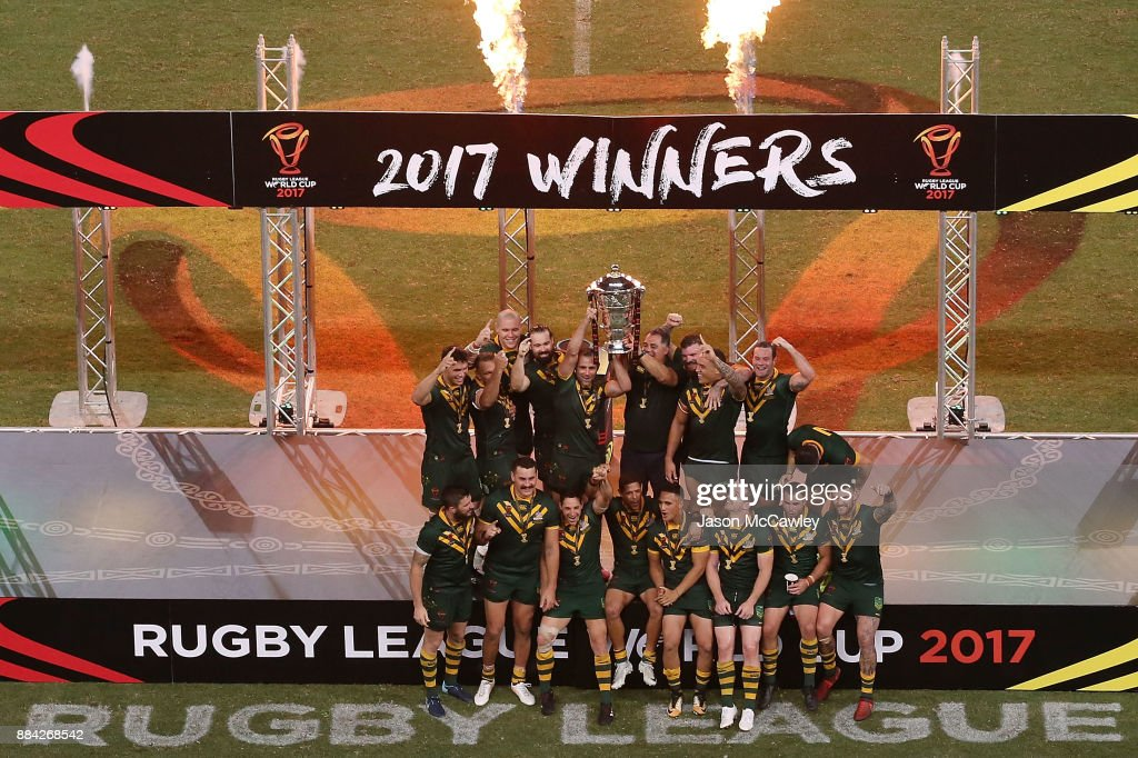 The Kangaroos celebrate with the trophy after winning the 2017 Rugby League World Cup Final between the Australian Kangaroos and England at Suncorp Stadium on December 2, 2017 in Brisbane, Australia.