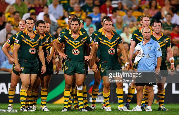 The Kangaroos looks dejected after another Kiwis try during the 2008 Rugby League World Cup Final match between the Australian Kangaroos and the New...