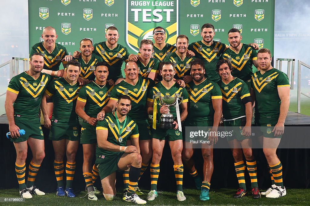 The Kangaroos pose with the trophy after winning the International Rugby League Test match between the Australian Kangaroos and the New Zealand Kiwis at nib Stadium on October 15, 2016 in Perth, Australia.