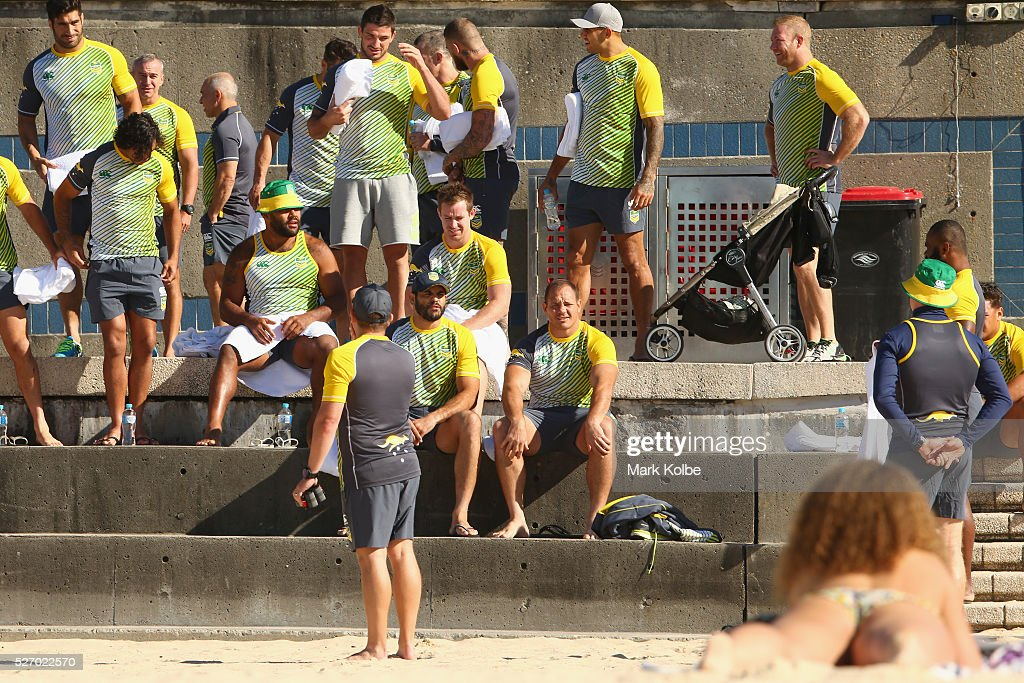 The Kangaroos prepare for the Australia Kangaroos Test team recovery session at Coogee Beach on May 2, 2016 in Sydney, Australia.