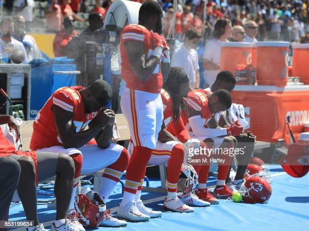 The Kansas City Chiefs during national anthem before the game against the Los Angeles Chargers at the StubHub Center on September 24 2017 in Carson...