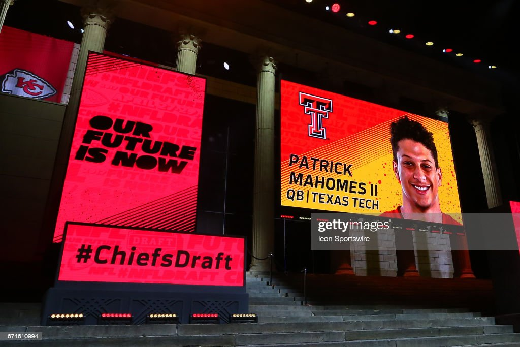 The Kansas City Chiefs select Patrick Mahomes of Texas Tech with the 10th pick at the 2017 NFL Draft at the 2017 NFL Draft Theater on April 27, 2017 in Philadelphia, PA.