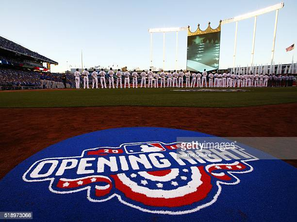 The Kansas City Royals and the New York Mets line the field during player introductions ahead of their opening day game at Kauffman Stadium on April...