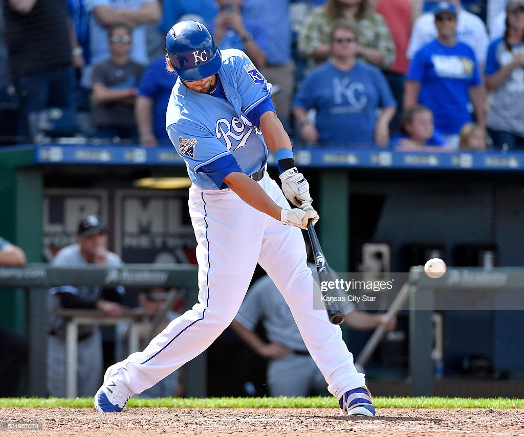 The Kansas City Royals' Brett Eibner connects on the game-winning hit in the ninth inning to score Drew Butera for a 8-7 win against the Chicago White Sox on Saturday, May 28, 2016, at Kauffman Stadium in Kansas City, Mo.