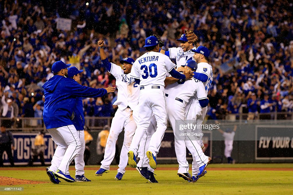 The Kansas City Royals celebrate after defeating the Los Angeles Angels 8-3 to sweep the series in Game Three of the American League Division Series at Kauffman Stadium on October 5, 2014 in Kansas City, Missouri.
