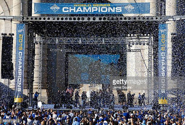 The Kansas City Royals celebrate at a rally following a parade in honor of their World Series win on November 3 2015 in Kansas City Missouri