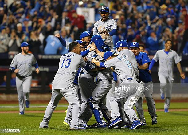 The Kansas City Royals celebrate defeating the New York Mets to win Game Five of the 2015 World Series at Citi Field on November 1 2015 in the...
