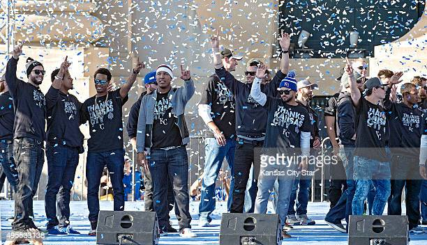 The Kansas City Royals celebrate during the team's World Series rally on Tuesday Nov 3 at Union Station in Kansas City Mo