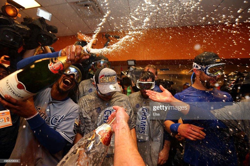 The Kansas City Royals celebrate in the clubhouse after defeating the New York Mets to win Game Five of the 2015 World Series at Citi Field on November 1, 2015 in the Flushing neighborhood of the Queens borough of New York City. The Kansas City Royals defeated the New York Mets with a score of 7 to 2 to win the World Series.