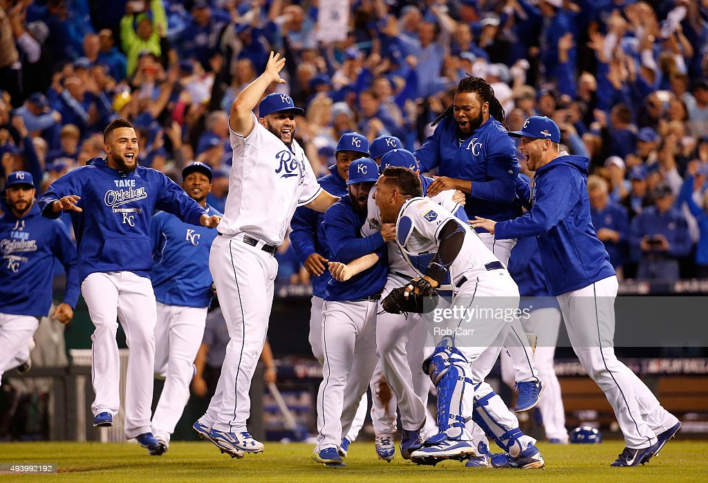The Kansas City Royals celebrate the 4-3 victory against the Toronto Blue Jays in game six of the 2015 MLB American League Championship Series at Kauffman Stadium on October 23, 2015 in Kansas City, Missouri.