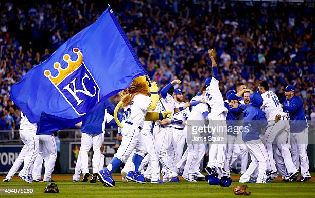 The Kansas City Royals celebrate the 43 victory against the Toronto Blue Jays in game six of the 2015 MLB American League Championship Series at...