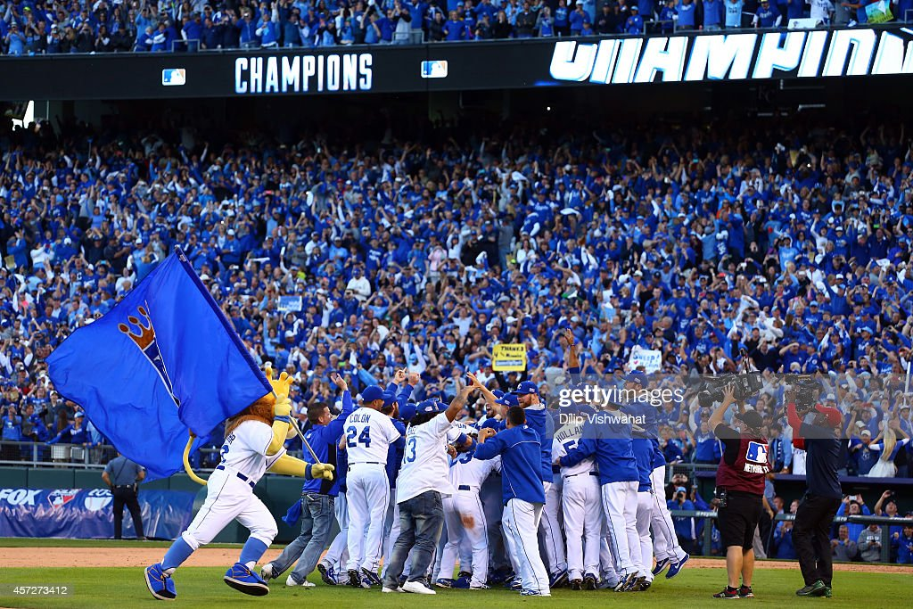 The Kansas City Royals celebrate their 2 to 1 win over the Baltimore Orioles to sweep the series in Game Four of the American League Championship...