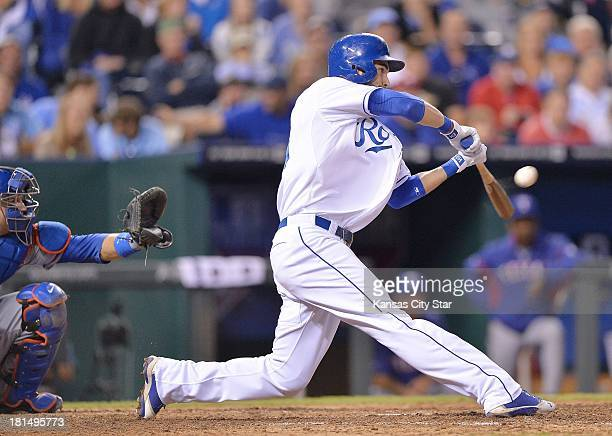 The Kansas City Royals' Eric Hosmer connects on a solo home run in the ninth inning against the Texas Rangers on Saturday September 21 at Kauffman...