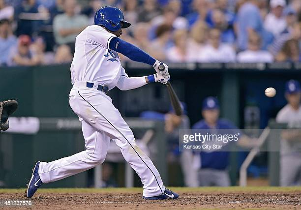 The Kansas City Royals' Jarrod Dyson connects on a solo home run in the fifth inning against the Los Angeles Dodgers on Wednesday June 25 at Kauffman...