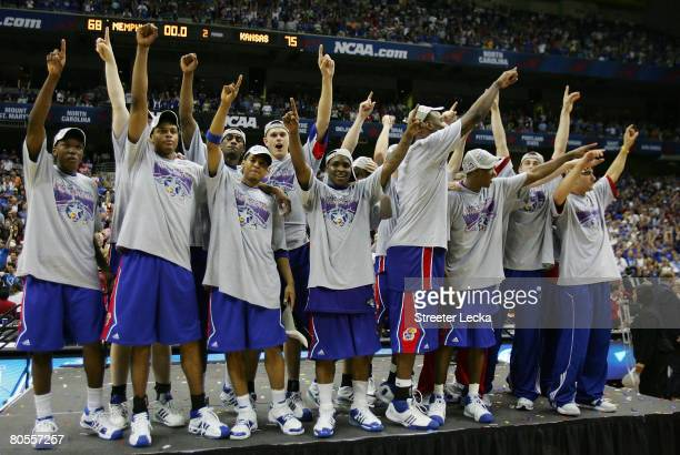 The Kansas Jayhawks celebrate after defeating the Memphis Tigers 7568 in overtime during the 2008 NCAA Men's National Championship game at the...