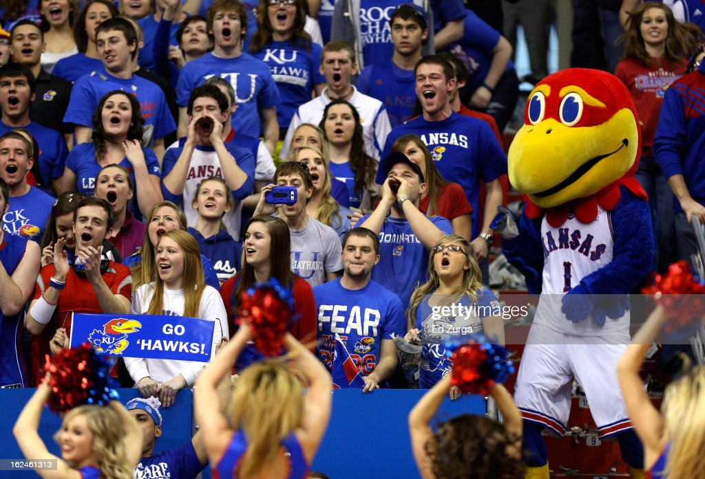 The Kansas Jayhawks mascot and fans cheer on the team during a game against the TCU Horned Frogs at Allen Field House on February 23, 2013 in Lawrence, Kansas.