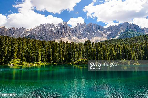 The Karersee lake in the Dolomites in South Tyrol, Italy.