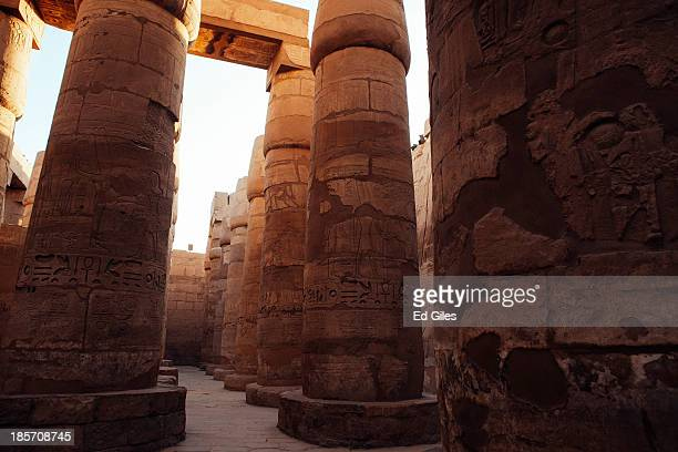 The Karnak Temple stands empty of tourists on October 22 2013 in Luxor Egypt Karnak is the largest ancient religious site in the world dedicated to...