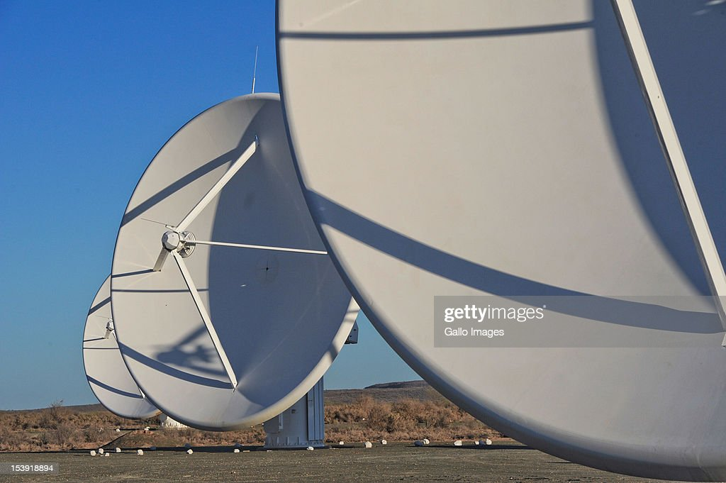 The KAT-7 telescope stands in the sun at the SKA (Square Kilometre Array) project site on October 9, 2012 in Carnavon, South Africa. President Zuma called the project an opportunity to recruit young people to pursue careers in science and technology. The SKA - or Square Kilometre Array, already includes seven telescope dishes and will feature many more from 2013 onwards.