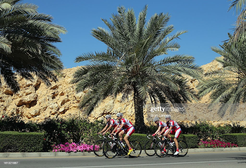 The Katusha team are seen on a training ride ahead of the 2013 Tour of Oman on February 10, 2013 in Muscat, Oman. The race will start tomorrow with a 162km stage from Al Musannah to Sultan Qaboos University.