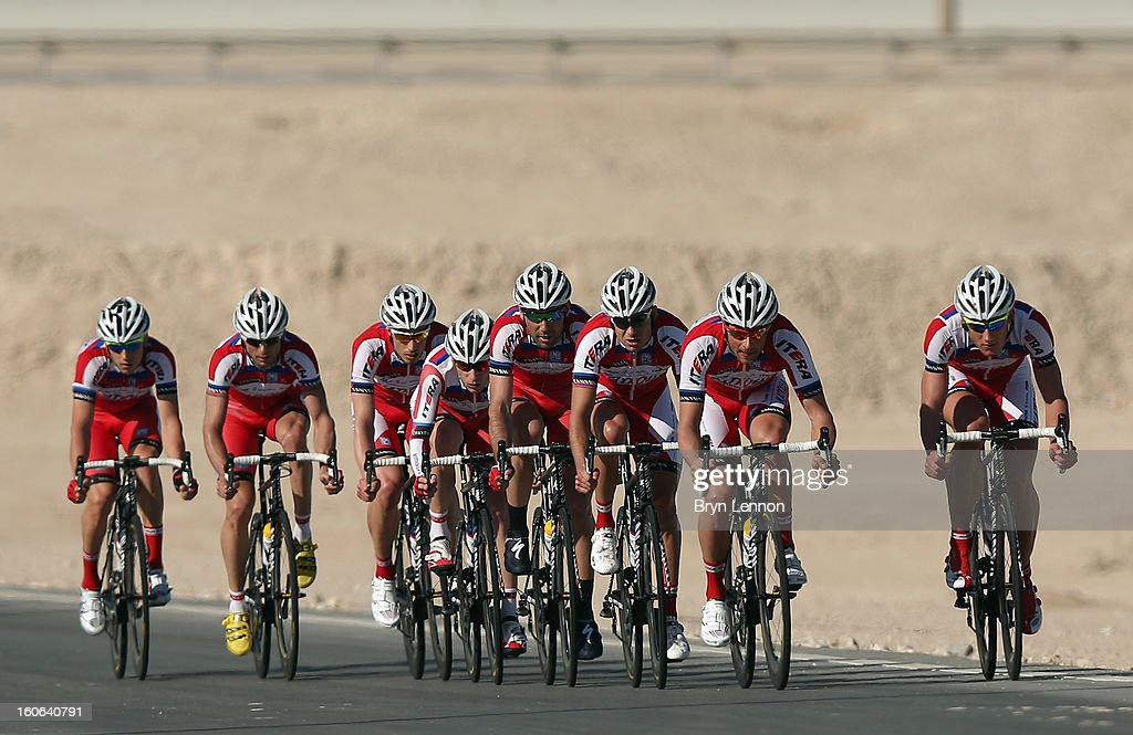 The Katusha Team in action during stage two of the 2013 Tour of Qatar, a 14km Team Time Trial, along Al Rufaa Street on February 4, 2013 in Doha, Qatar.