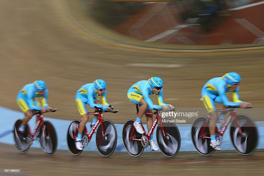 The Kazakhstan men's team pursuit of Artyom Zakharov,Dmitry Lukyanov,Dias Omirzakov and Ivan Tsissaruk during heats on day one of the UCI Track World Championships at Minsk Arena on February 20, 2013 in Minsk, Belarus.
