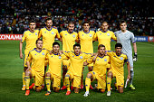 The Kazakhstan team pose for a picture ahead of the UEFA EURO 2016 Qualifier between Kazakhstan and Turkey at the Central Stadium on June 12 2015 in...