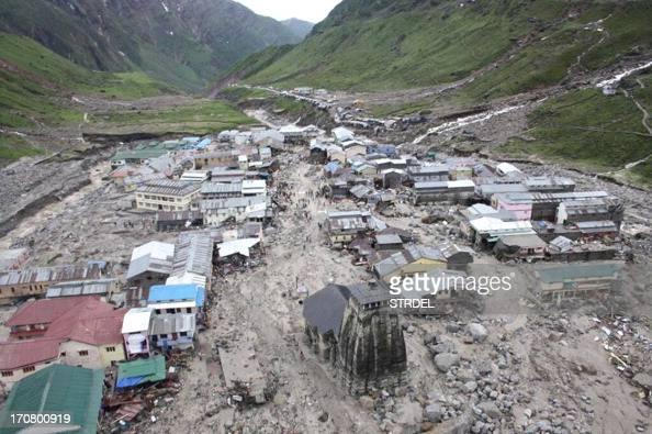 The Kedarnath Temple is pictured amid flood destruction in the holy Hindu town of Kedarnath located in Rudraprayag district in the northern Indian...