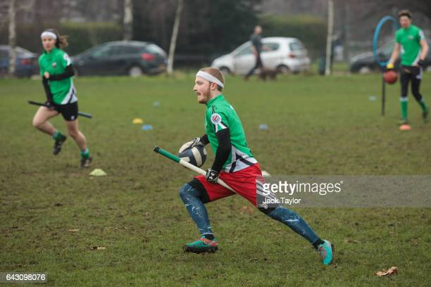 The Keele Squirrels play the Radcliffe Chimeras during the Crumpet Cup quidditch tournament on Clapham Common on February 18 2017 in London England...